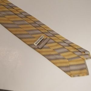 Burma Bibas Accessories - Burma Bibas Striped Geometric Silk Tie